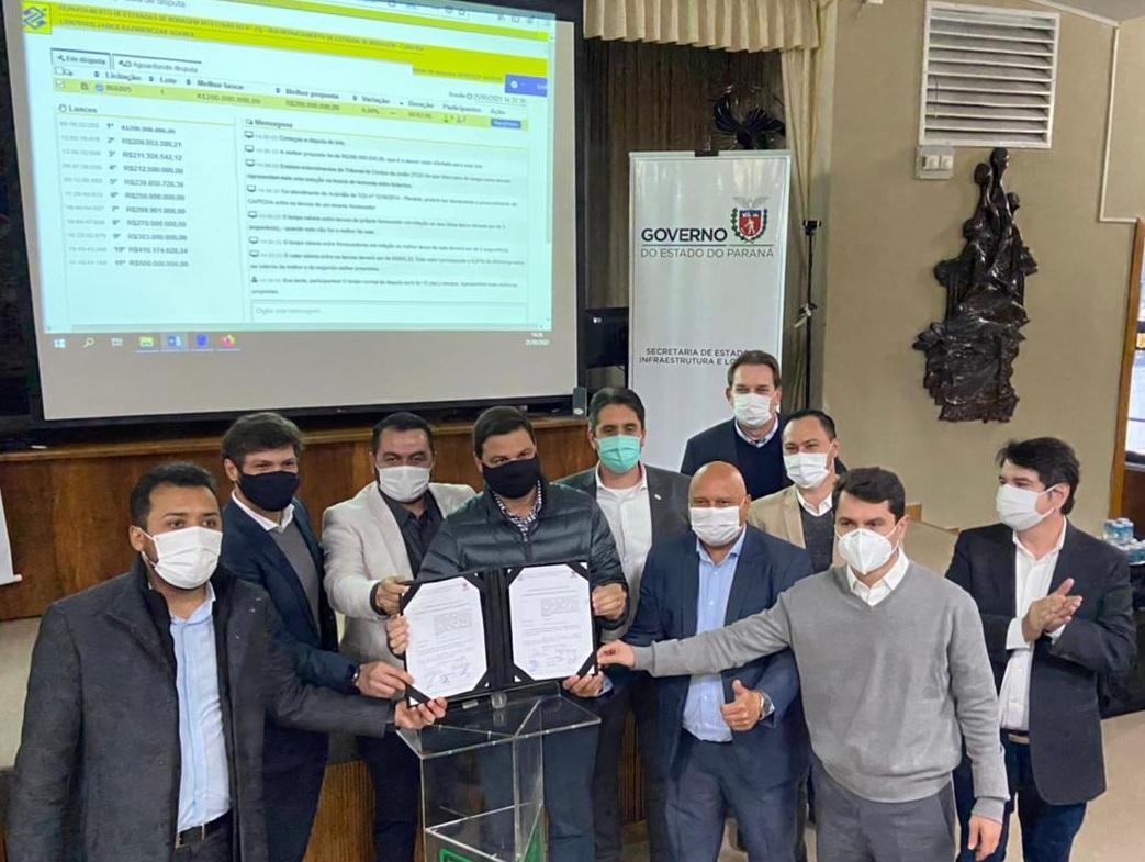 Pregão eletrônico foi realizado na tarde do dia 25 de maio, em Curitiba. TCE Engenharia foi a empresa vencedora, com lance de R$ 183.456.873,42